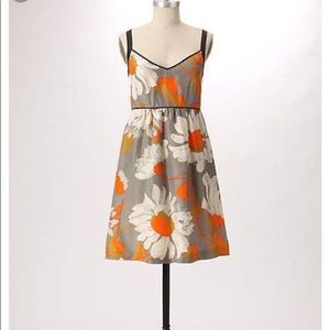 Anthropologie Silk Floral Dress Grand Gazania 10P